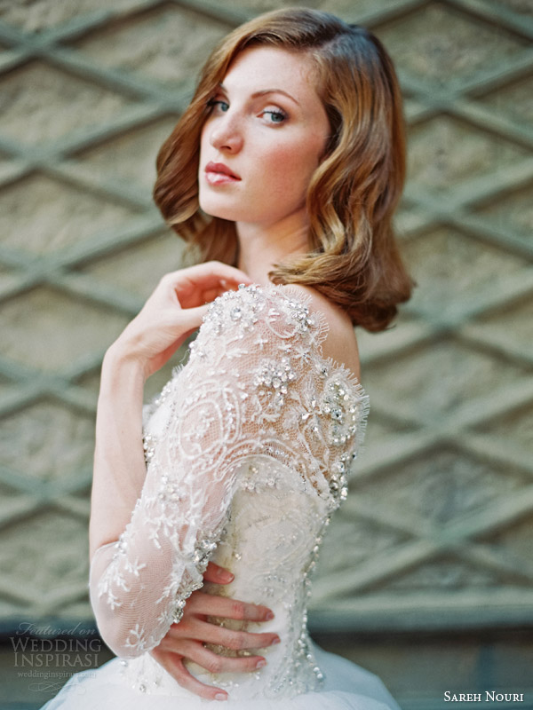 sareh nouri wedding dresses fall 2014 bridal ziba ball gown long sleeves bodice close up side