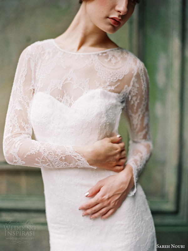 sareh nouri wedding dresses fall 2014 estelle long sleeve gown close up bodice detail