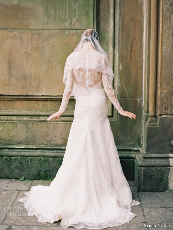 sareh nouri wedding dresses fall 2014 estelle long sleeve lace gown back