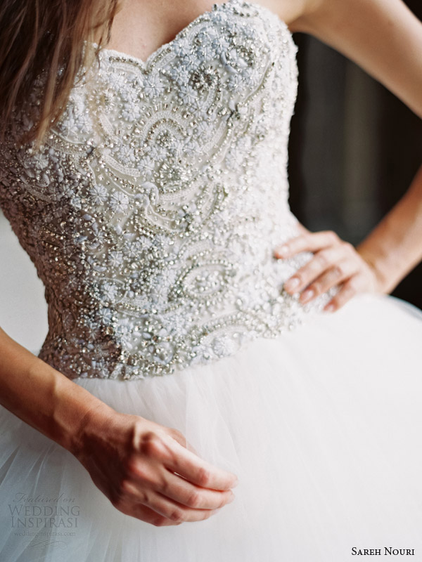 sareh nouri wedding dresses fall 2014 lily strapless ball gown beaded bodice close up