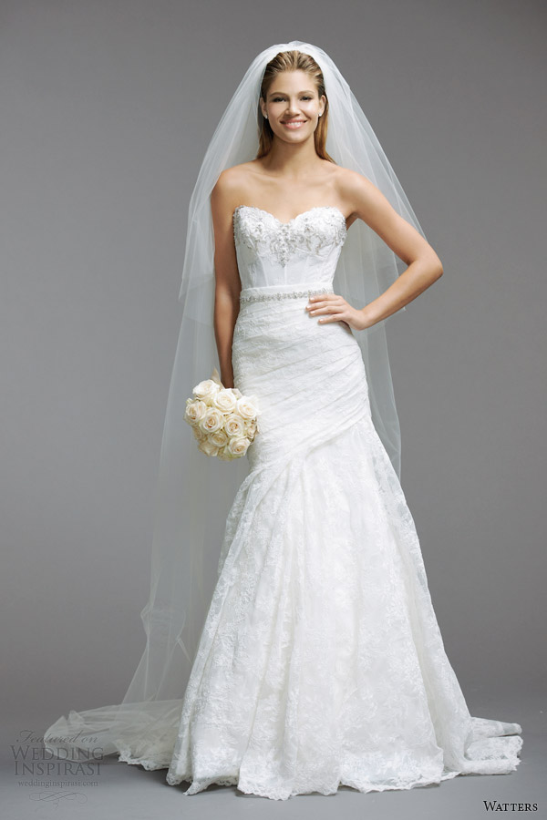 watters bridal spring 2014 strapless wedding dress style 5084B