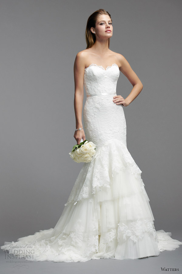watters bridal spring 2014 strapless wedding dress style 5088B
