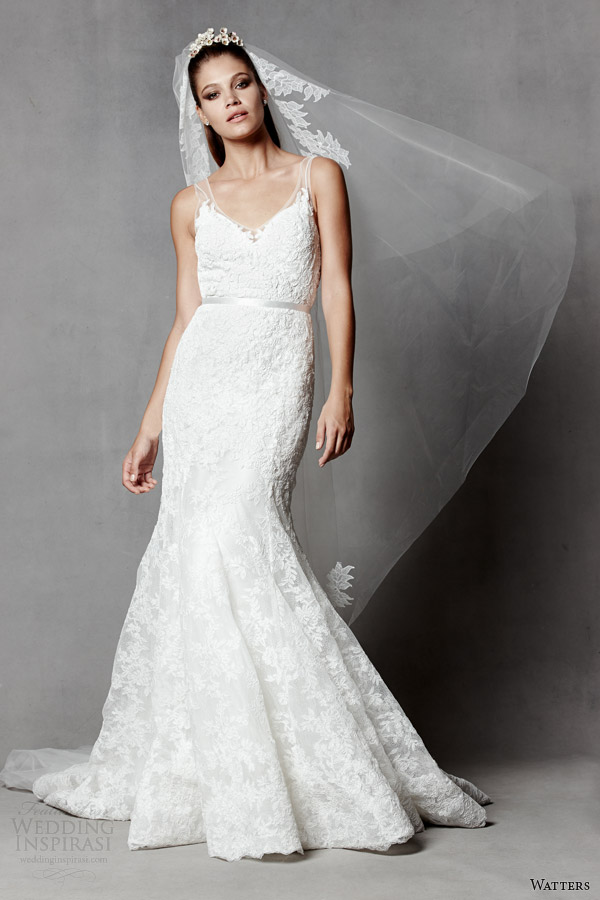 watters brides 2014 sleeveless wedding dress illusion straps style 5017B