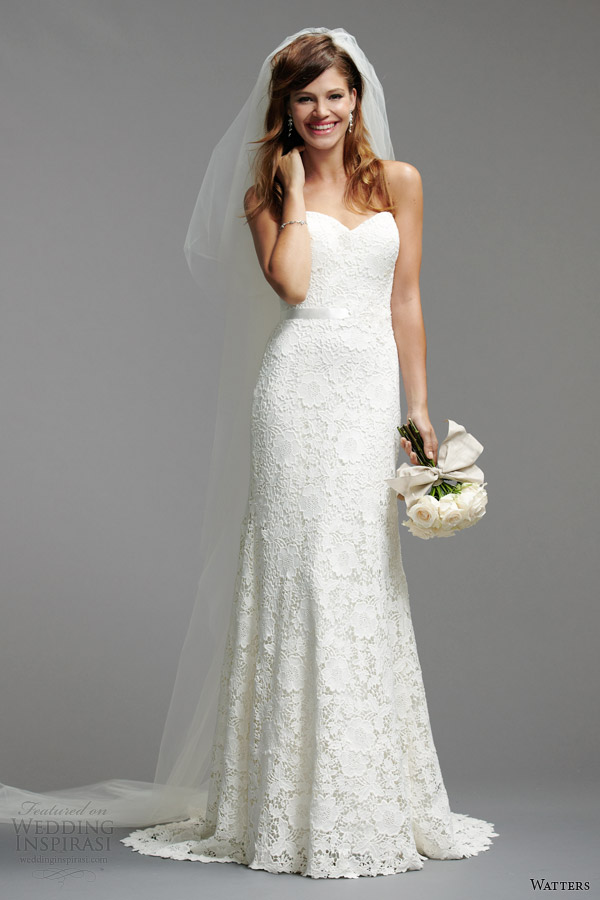 watters brides 2014 spring bridal strapless wedding dress style 5012B