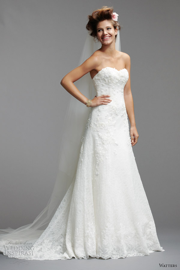 watters brides 2014 strapless wedding dress style 5013B
