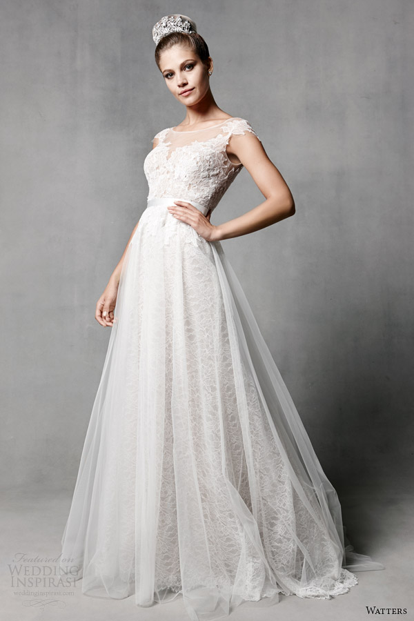 watters brides spring 2014 cap sleeve wedding dress style 5010B