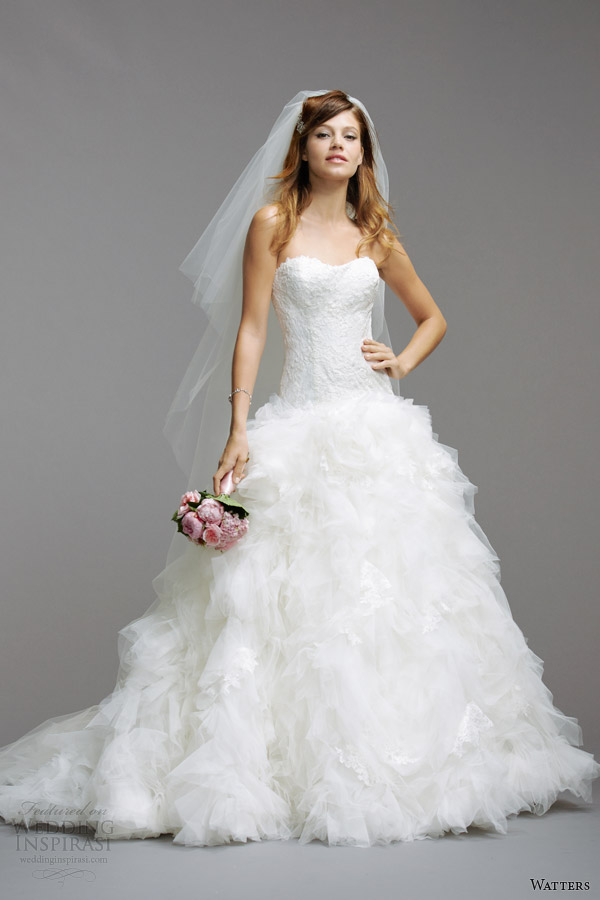 watters wedding dresses 2014 strapless gown style 5071B