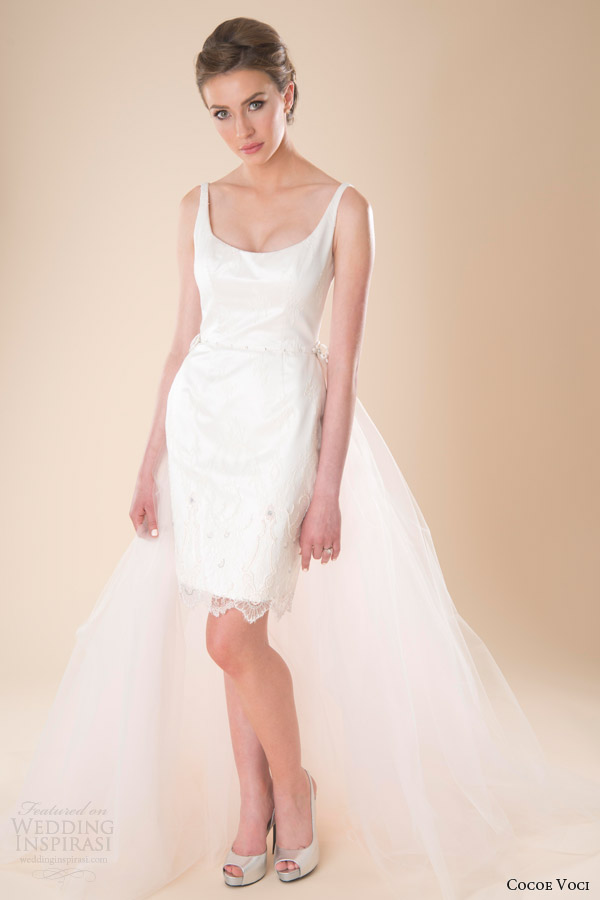 Cocoe voci spring 2014 wedding dresses wedding inspirasi for Short wedding dress with removable train