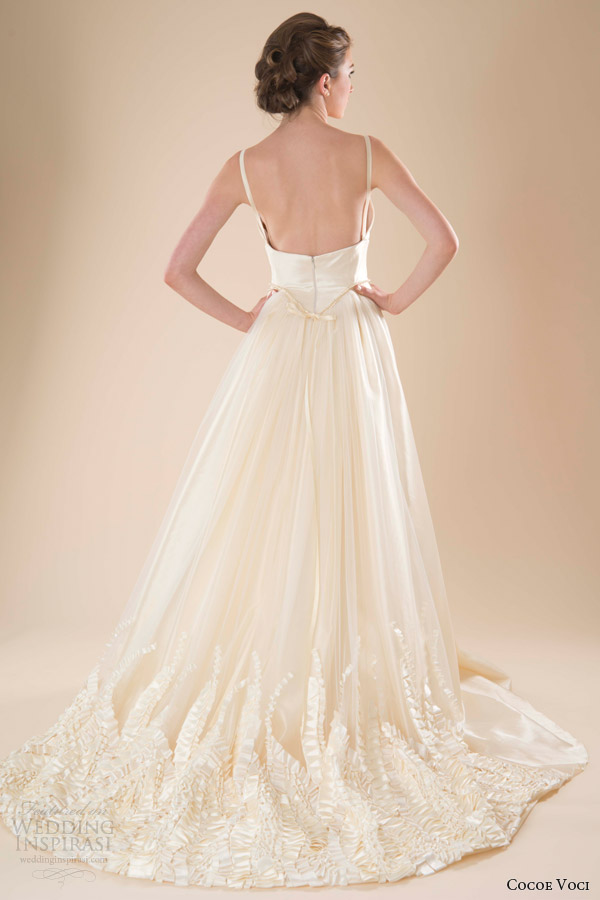 cocoe voci wedding dresses spring 2014 marigold gown straps back satin ribbon embroidery hem