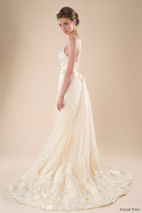cocoe voci wedding dresses spring 2014 marigold gown straps side view