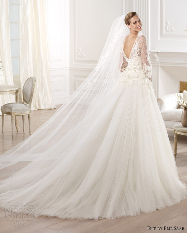 elie by elie saab 2014 bridal lacerta wedding dress with sleeves v back train