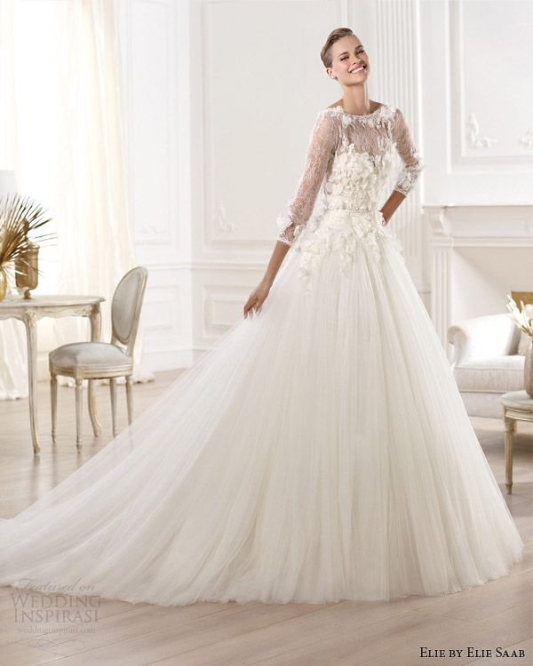 elie by elie saab 2014 bridal lacerta wedding dress with sleeves