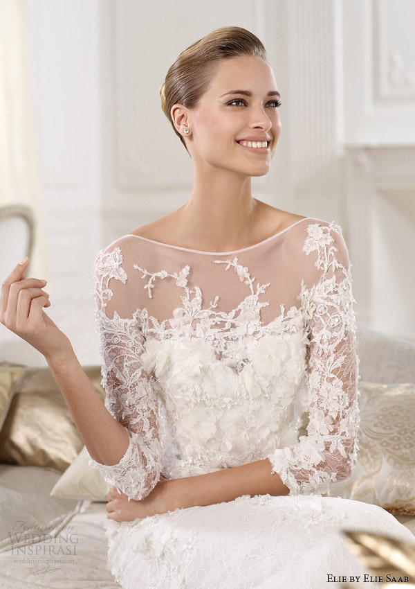 elie by elie saab 2014 cignus three quarter sleeve wedding dress close up bodice