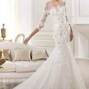 elie by elie saab 2014 cignus three quearter sleeve wedding dress