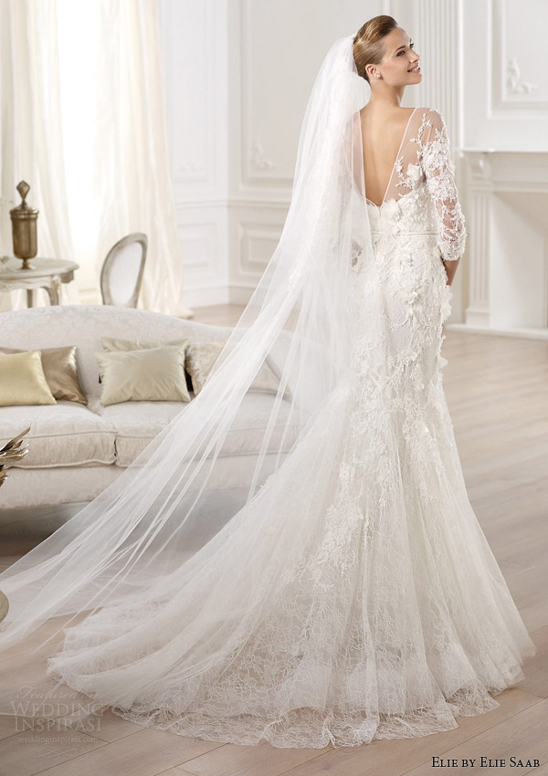 elie by elie saab 2014 cignus three quearter sleeve wedding dress back view train