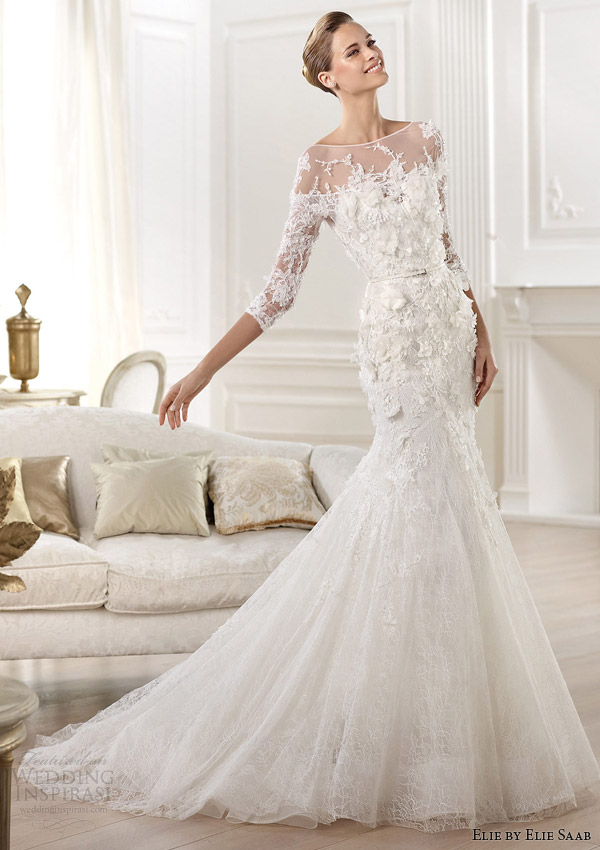 d48bfaeb84d elie by elie saab 2014 cignus three quearter sleeve wedding dress
