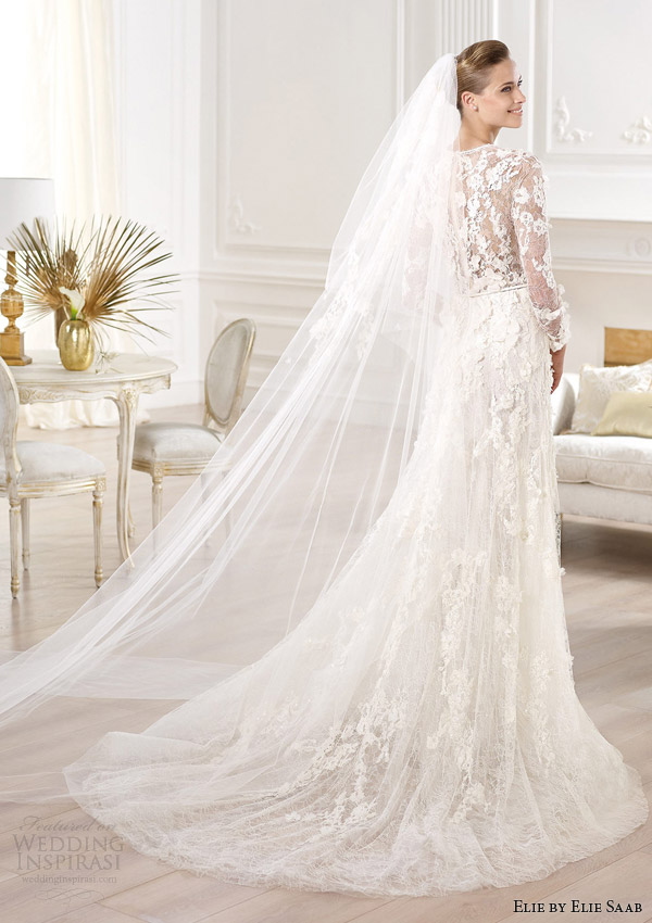 elie by elie saab wedding dresses 2014 crux long sleeve gown v neck back train