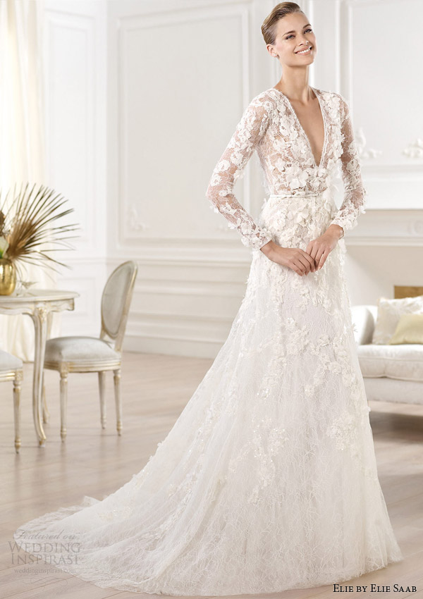 elie by elie saab wedding dresses 2014 crux long sleeve gown v neck