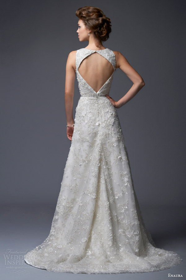 enaura bridal 2013 2014 a line wedding dress tank style bodice ef369 keyhole back