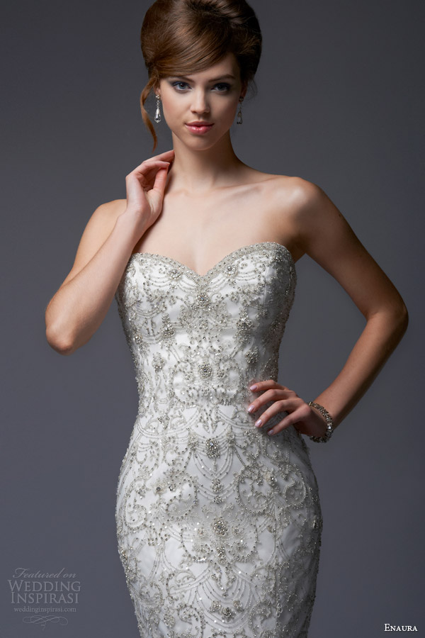 enaura bridal fall 2013 strapless sweetheart fit flare wedding dress style ef355 close up bodice