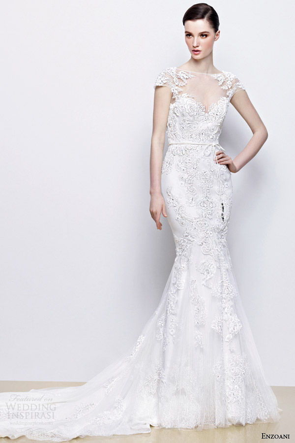 enzoani wedding dresses 2014 bridal indira illusion cap sleeve gown