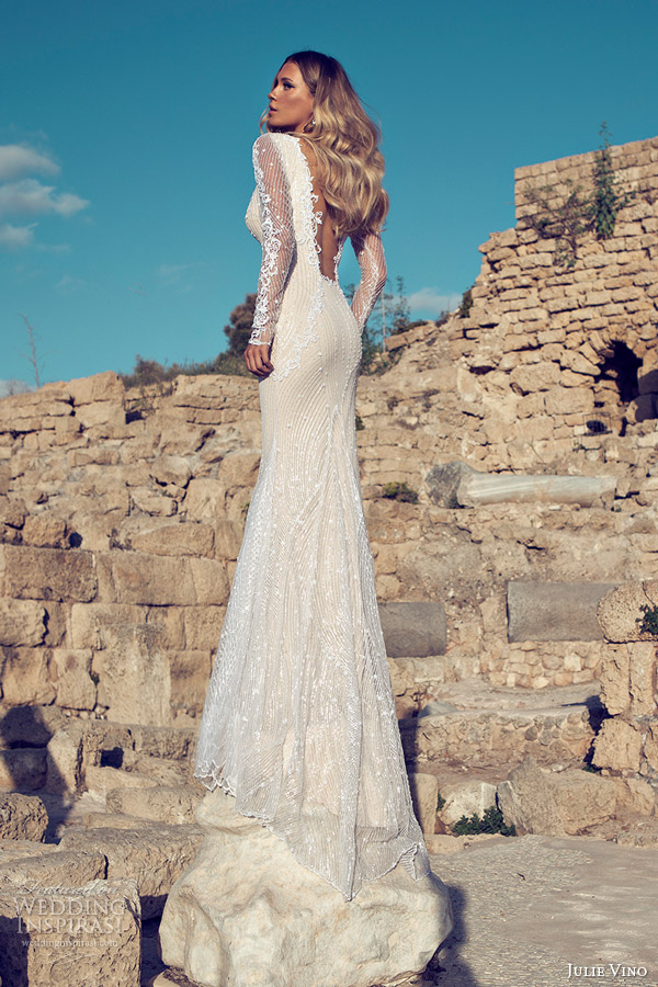 julie vino 2014 bridal long sleeve sexy wedding dress open back