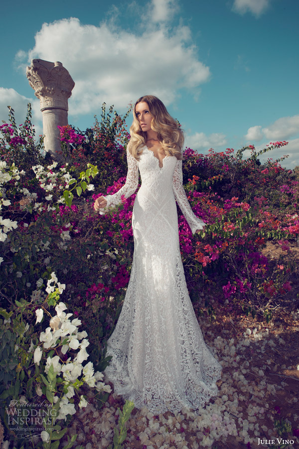 julie vino 2014 bridal long sleeve wedding dress lace illusion