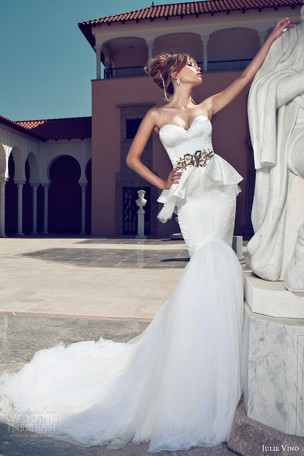 julie vino 2014 bridal strapless peplum mermaid wedding dress gold belt