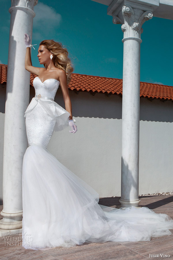 julie vino 2014 bridal strapless peplum mermaid wedding dress