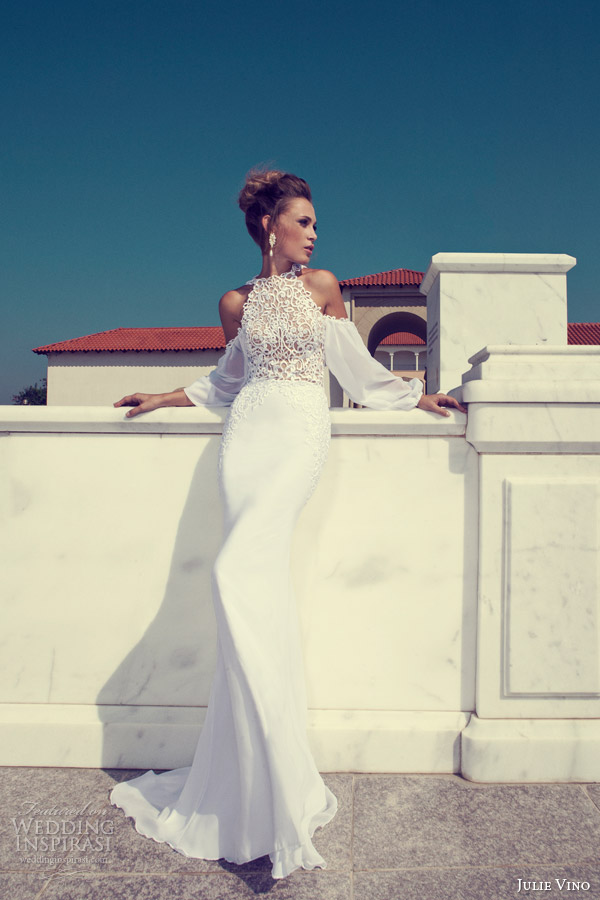 julie vino 2014 halter neck wedding dress long sleeves