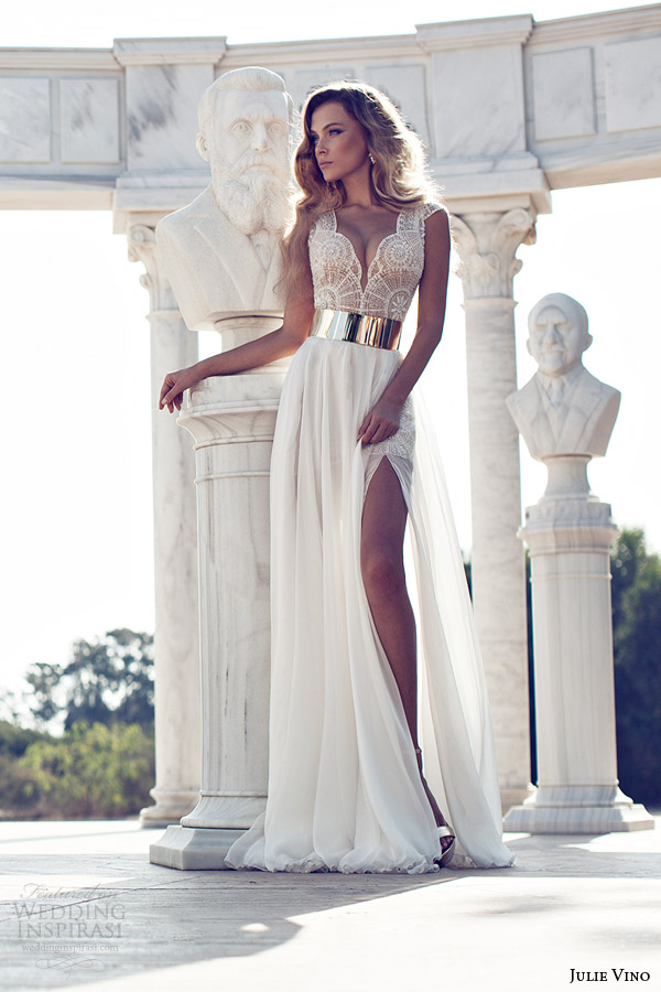 julie vino fall 2014 cap sleeve wedding dress thigh high slit
