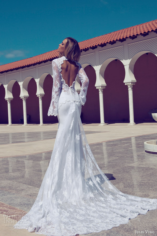 julie vino fall 2014 long sleeve wedding dress keyhole back train