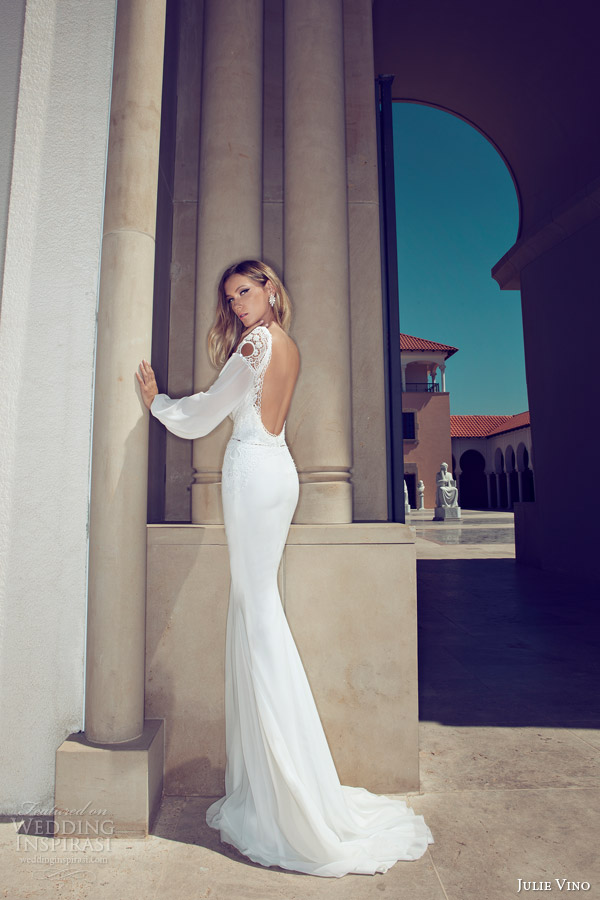 Julie vino 2014 wedding dresses wedding inspirasi page 2 for Wedding dress with sleeves and open back