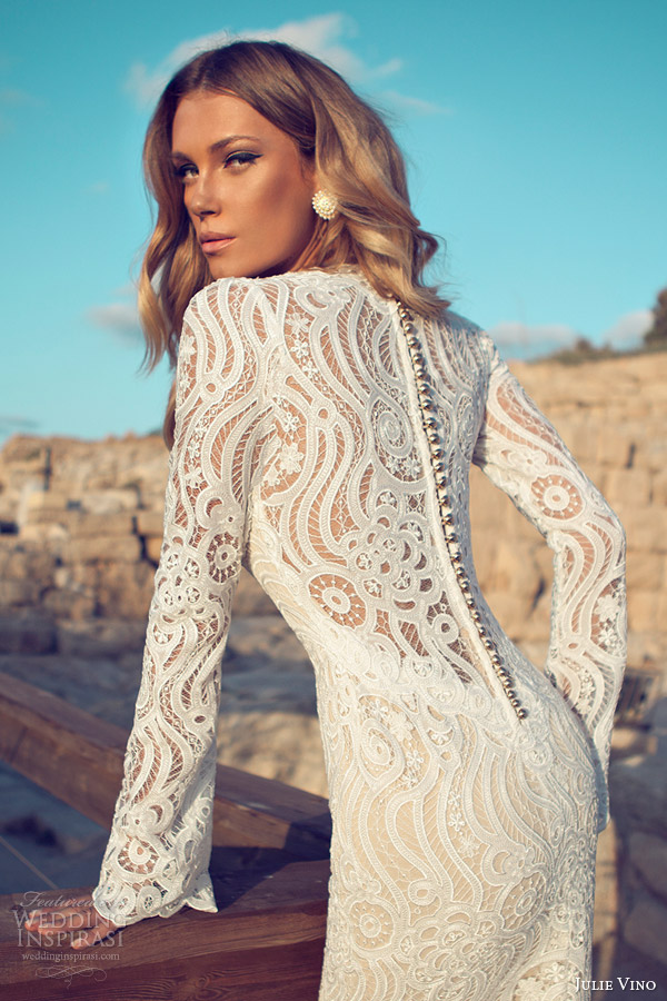 julie vino wedding dresses 2014 bridal long sleeve gown scalloped v neck back row of buttons