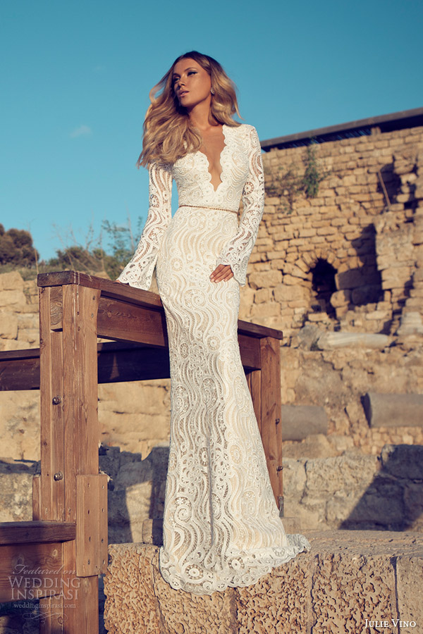 julie vino wedding dresses 2014 bridal long sleeve gown scalloped v neck