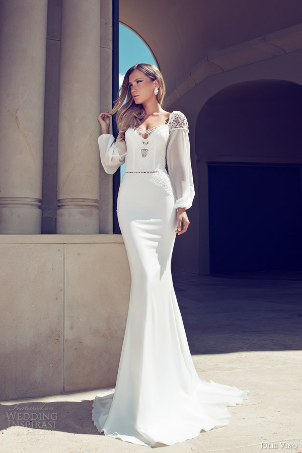 julie vino wedding dresses 2014 bridal long sleeve gown