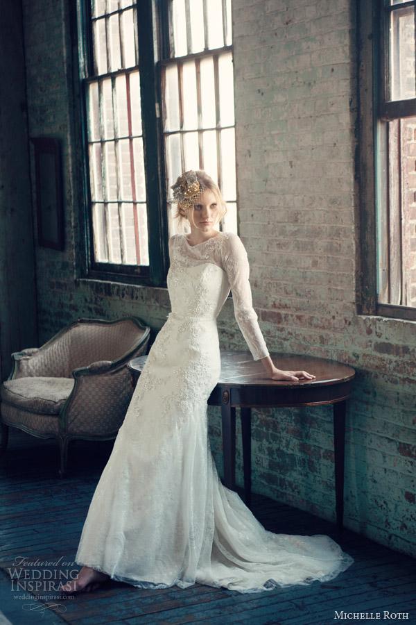 michelle roth 2014 bridal rosalind long sleeve wedding dress