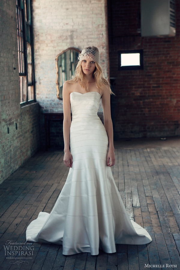 michelle roth 2014 ryan strapless wedding dress horizontal satin panel seam