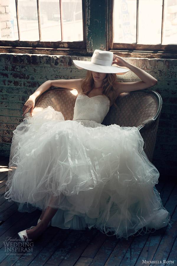 michelle roth bridal 2014 raya strapless wedding dress