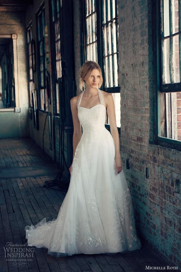 michelle roth bridal 2014 rowena halter neck strap wedding dress sweetheart neckline