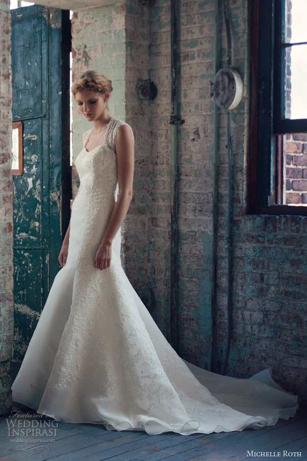 michelle roth wedding dresses 2014 rosa fit flare lace gown