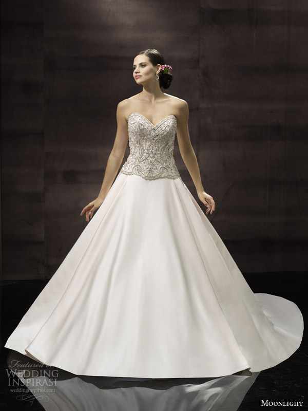moonlight bridal couture wedding dress spring 2014 strapless gown style h1244