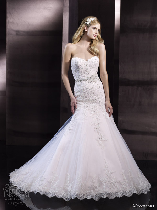 moonlight couture bridal spring 2014 strapless wedding dress style h1243