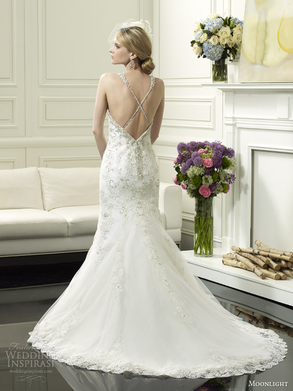 moonlight couture bridal spring 2014 wedding dress with straps style h1247 back crisscross