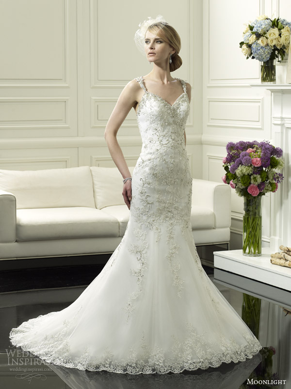 moonlight couture bridal spring 2014 wedding dress with straps style h1247