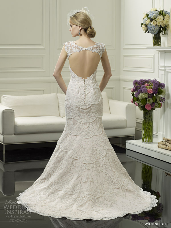 moonlight couture wedding dress spring 2014 cap sleeve gown style h1249 key hole back