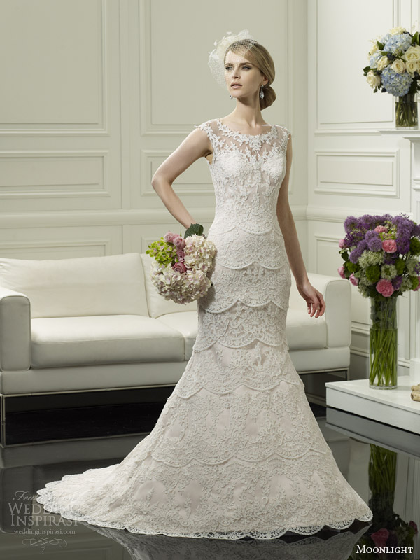moonlight couture wedding dress spring 2014 cap sleeve gown style h1249