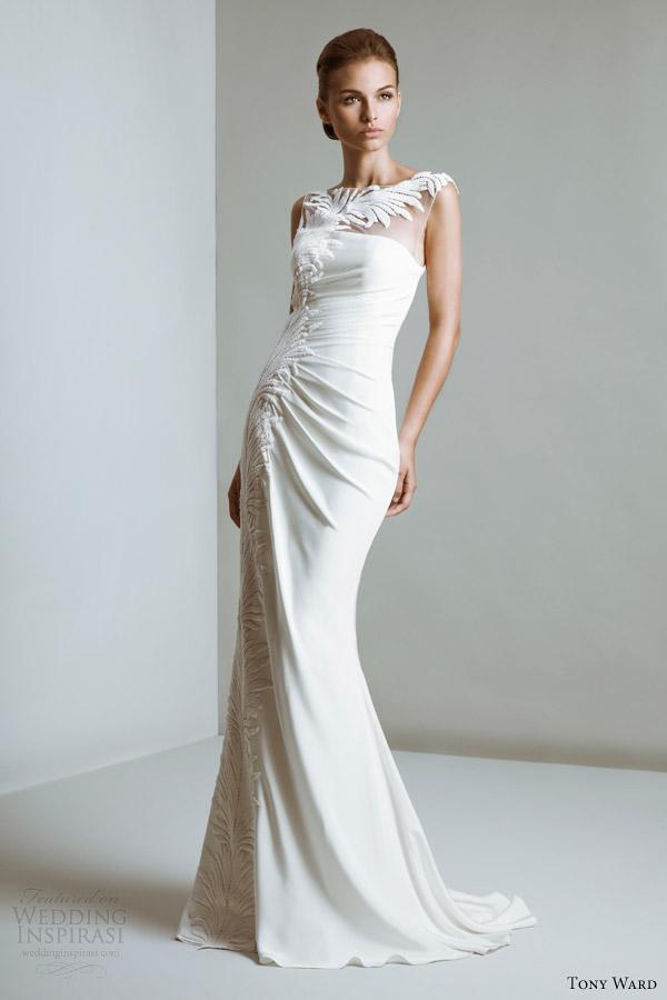 ala tony vestidos coutur ewedding 2014 linda vestido de decote ilusão