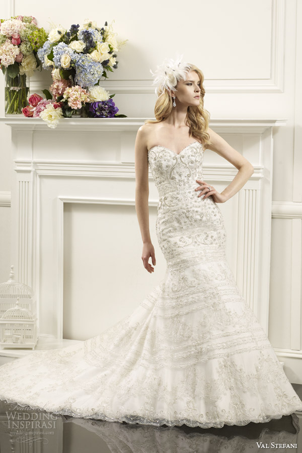 val stefani bridal spring 2014 strapless fit flare swarovski crystal wedding dress d8058