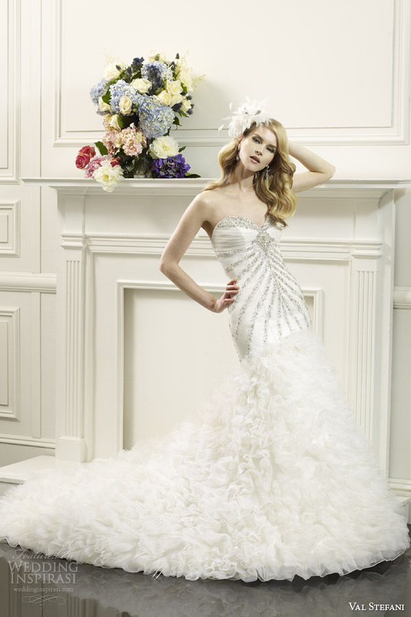 val stefani bridal spring 2014 strapless fit flare wedding dress d8057 swarovski bodice